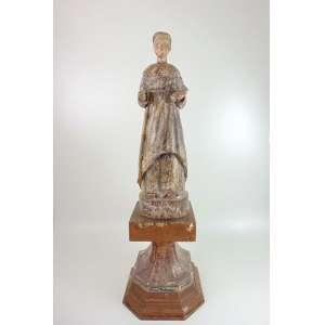 Imagem de Santo António em madeira policromada e lavrada de elegante linha - 66 cm de alt. Brasil Sec XVIII