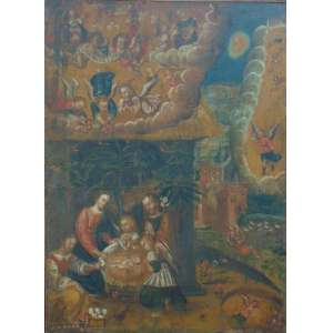 Importante obra Escola Cusquenha - OST - Séc. XVII/XVIII - 190 x 140 cm.
