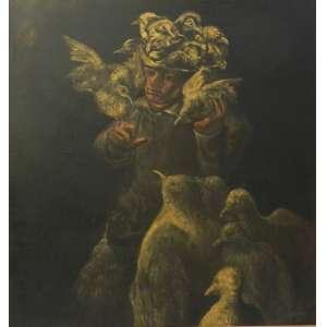 MARIO GRUBER – Pertuí com pássaros - OST/CID - dat 90 - 67 x 60 cm. –