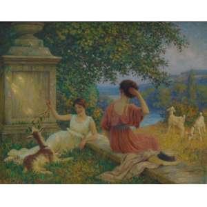 LEOPOL FRANZ KOWALSKI - Paisagem com figuras - OST / CID - 72 x 92 cm. Léopold Franz Kowalski (1856-1931) foi um pintor alemão nascido na França, conhecido por suas telas retratando cenas de gênero, figuras e paisagens, foi aluno de Jean Pillard e Henri Lehmann na Ecole des Beaux-Arts de Paris. Ele exibiu regularmente em Paris a partir de 1881 no Salon des Artists Français.
