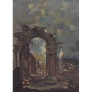 Escola de Francesco Guardi - Cena de ruínas - Itália séc. XVIII - OST / CIE - 75 X 55 cm(apresenta rasgo e moldura no estado)