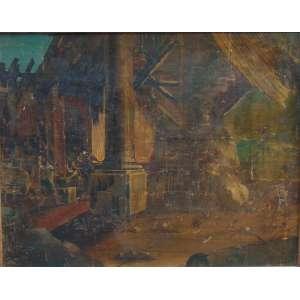 Anônimo - Vista com ruinas - Ìtalia séc.XIX - OST - 90 x 114 cm (tela com rasgo)