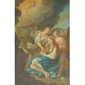 Escola Italiana representando cena Sacra - OST - 65 x 42 cm - Italia Sec XVIII (pequenas falhas na pintura)