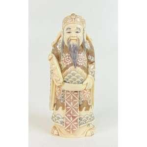 Escultura representando Sabio em Marfim - 12 cm alt. China Séc XIX.