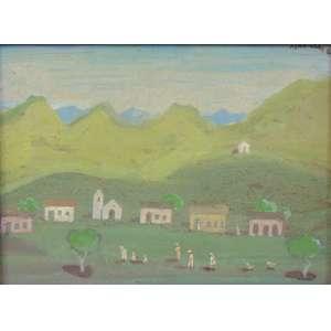 Fulvio Penacchi - Paisagem com aldeias e figuras - OSM - CSD - dat 1980 - 23 x 17 cm.