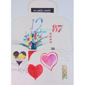 ALDEMIR MARTINS - Cartão dia dos namorados - Nanquim - Aquarela e colagem sobre cartão - Assinado - dat 1987 e com dedicatória para Cora - 71 x 50 cm.