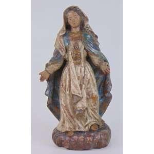 Delicada imagem de Nossa Senhora das Graças - em barro, Minas, séc XVII. Altura : 24 cm.