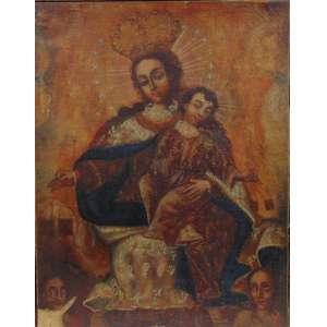 Nossa Senhora - Escola Cusquenha - OST - Séc XVIII - 43 x 33 cm - (Tela no estado)