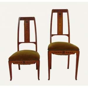 Par de cadeiras Art Noveaux - 98 cm de alt, 40 de comp e 41 de prof.