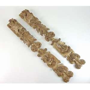 Par de fragmento de madeira policromada, séc. XVII/XIX - 90 x 13 cm