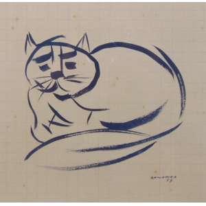 A.BANDEIRA - Gato - Nanquim - CID - dat 1957 - 20 x 21 cm.