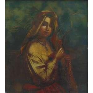 Anônimo - Figura feminina - Óleo Sobre Zinco - Europa, séc XVII/XVIII - 42 x 38 cm.