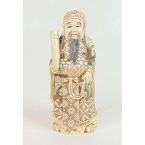 Escultura representando Sábio executada em Marfim policromado . China Sec XX. - 12 cm alt.