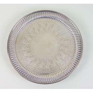 Salva de prata de lei contraste da cidade de Londres .Período Vitoriano . Inglaterra Séc XX - 20 cm de diâm.