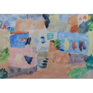 THOMAZ IANELLI - Fundo de Quintal - Aquarela sobre cartão - CID - Prudentopolis - PR - dat 1978 - 33 x 47,5 cm. Com etiqueta Paulo Figueiredo, Galeria de Arte no verso.