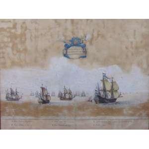 FRANZ POST - Marinha Nº5 - Litografia aquarelada - CIE - 1645 - 38 x 50 cm (papel com fungo)