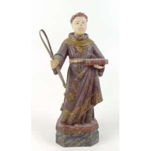 Santo Antônio - Escultura em madeira lavrada e policromada . Brasil Sec XIX- 27 cm de alt.