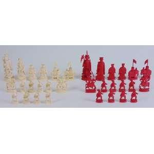 Jogo Xadrez executado em Marfim com otima qualidade de fatura - 32 peças. China Sec XX