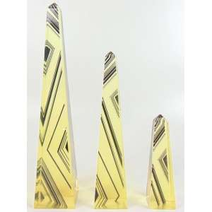 Palatinik - Trinca Obelisco - 34 cm alt maior, 15 cm alt menor. (Obelisco menor com quebrado)