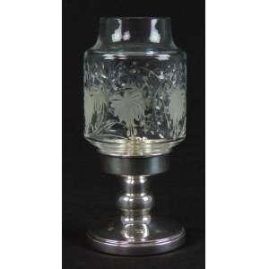 Castiçal em prata inglesa - 10 cm alt - com manga em vidro lapidado - 22 cm alt, 10 cm diâm.