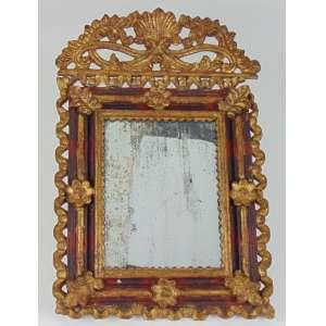 Espelho de madeira entalhada e dourada . Perú Sec XIX - 56 x 38 cm - (no estado)