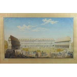 Par de aquarelas de fina qualidade representando cenas do cotidiano europeu militar do Sec XVIII - 39 x 67 cm.