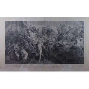 Gravura a metal representando cena de mitologia. Europa Sec XIX - 57 x 91 cm