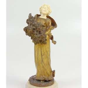 ALONZO DOMÊNICO- Fina escultura de bronze e marfim - Primavera - 24 cm de alt. França Sec XIXXX