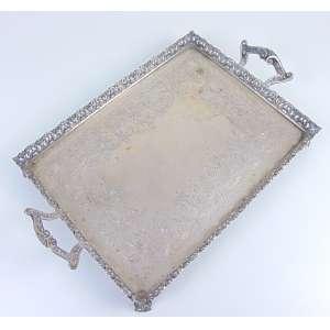 Bandeja de Prata de lei teor 833 . Brasil Séc XX- 29 x 46 cm.