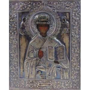 ÍCONE em fina prata de lei trabalhada ornamentado por gemas ,pintura a óleo , contraste 84 datado de 1849 . Russia SÉC XIX - 22 x 18 cm.