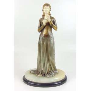 Escultura de bronze e marfim - Figura com flor - 41 cm alt.