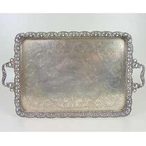Bandeja de Prata Lei teor 833. Brasil Séc XX - 48 x 35 cm.