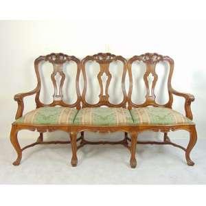 Importante cadeirado de jacaranda da Bahia estilo e época . D. José I . Brasil séc XVIII- 110 cm alt, 172 x 50 cm.