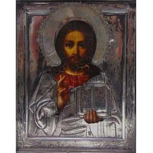 ICONE em fina prata trabalhada , pintura a oleo , contraste 84 e iniciais do artista . Russia Séc XIX 18 x 15 cm.