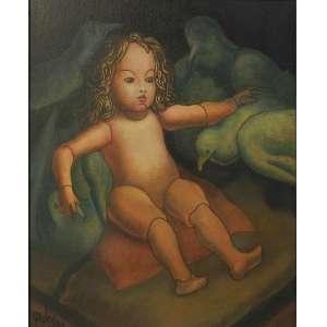 MARIO GRUBER – Menina com pássaro - OST/CIE - dat 90 - 46 x 38 cm.