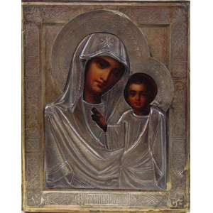 ÍCONE em fina prata de lei trabalhada , duplamente contrastado 84 , datado 1890 e iniciais do prateiro , exímio trabalho de pintura a óleo 18 x 14 cm.Russia Séc XIX