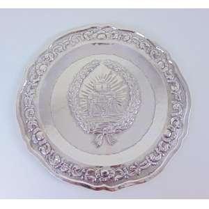 Medalhão em Prata de lei repuxada . Sul Americana - 38 cm diâm.