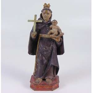 Santo Antonio de madeira lavrada e policromada - MG - Séc XIX - 26 cm alt.