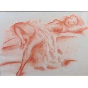 GOMIDE - Nú feminino - Sem ass. - atestado de autenticidade no verso - de Francisco Rebolo - 27/02/1971 - 48 x 67 cm.