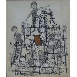DARCI PENTEADO - Crianças brincando - OST/CIE - dat 1970 - 120 x 100 cm