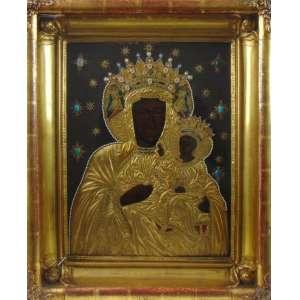 ÍCONE -Imponente obra executada a óleo com ornamentos em micro perolas e pedrarias . Russia Séc XIX 46 x 35 cm.