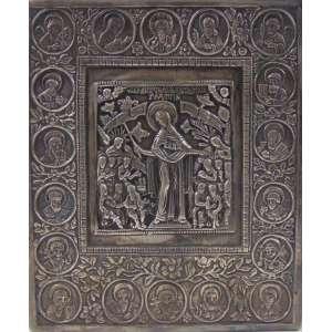 ÍCONE executado em fina prata de lei , contraste 84 , datado de 1867 -Russia Séc XIX . 17 x 14 cm.