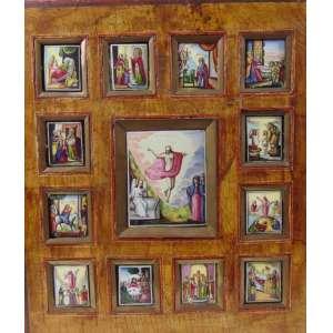 ÍCONE -belíssimo trabalho em esmalte representando a vida de cristo , guarnecido por cobre sobre base de madeira policromada .Séc XVIII 36 x 31 cm.