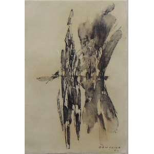 BANDEIRA ANTONIO - Abstrato - CID -nanquim sobre papel déc 60 - 21 x 14 cm.Ex Coleção JORGE AMADO.