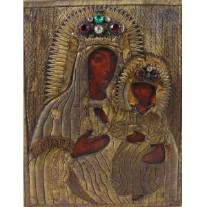 ÍCONE Importante obra executada em bordado com fios de ouro , ornamentada por pedrarias e belíssima pintura .Russia SÉC XVIII 35 x 28 cm.