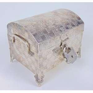 Caixa cofre de prata de lei , Sul Americana - 7 cm alt - 9 x 7.