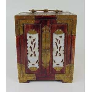 Mini caixa de madeira, acabamento em Bronze - 18 cm alt, 14 cm comp e 10 cm prof.