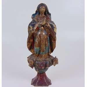 Nossa Senhora da Conceição, madeira lavrada e policromada - Bahia - Séc XIX - (no estado) - 33 cm alt.