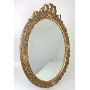 Espelho oval em madeira trabalhada - Europa Séc XIX - 93 x 68 cm.