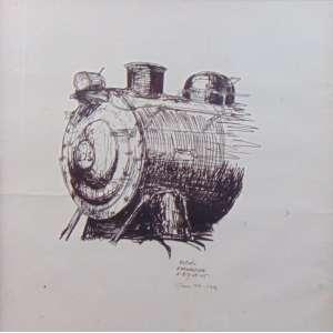 GLAUCO PINTO de MORAES – Estudo Locomotiva – P.M – dat 1976 - Ass.no centro 45 x 45 cm.